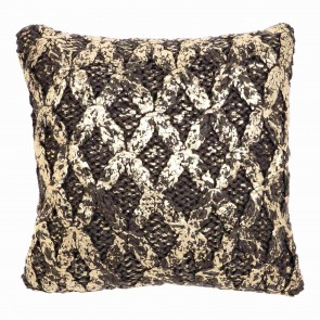Dark Grey & Gold Knit Foiled Kav Cushion