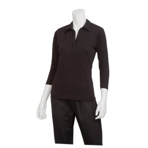 Definity Women's Black Knit Polo Shirt