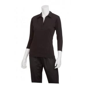 Definity Women's Black Knit Polo Shirt