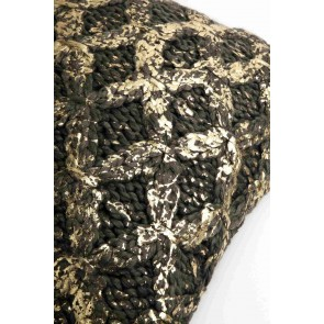 Dark Grey & Gold Knit Foiled Kav Cushion by Alexander Santorini