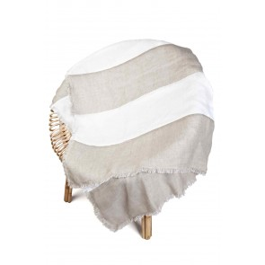 Beige & White Striped Linen Throw by Alexander Santorini