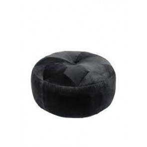 Halifax Round Velvet Ottoman Charcoal by J Elliot Home
