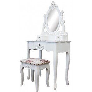 Living Good Dressing Table Large with Mirror & Stool 03