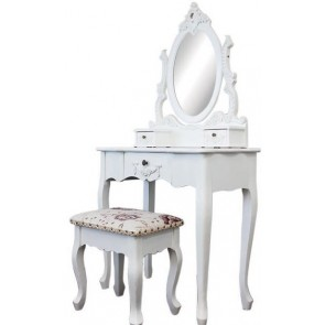 Living Good Dressing Table Large with Mirror & Stool 04