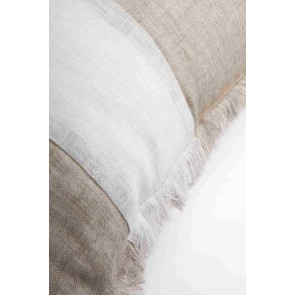 Striped Beige & White Linen Fringed European Cushion by Alexander Santorini