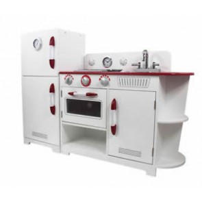 Teamson White and Red 2 Piece Play Kitchen