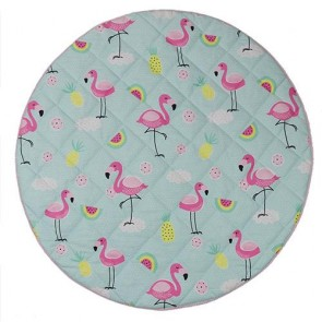 Flamingo Round Play Mat by Lolli Living