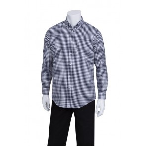 Gingham Men's Navy Dress Shirt