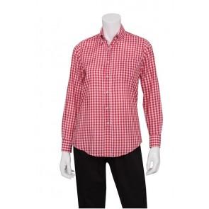 Gingham Women's Red Dress Shirt