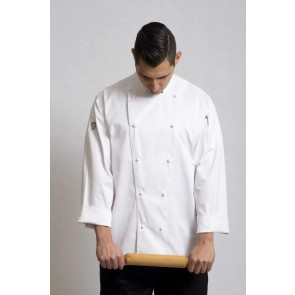 Traditional White Long Sleeve Chef Jacket by Global Chef