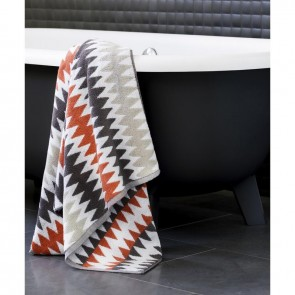 Linen and Moore Terracotta Herringbone Towel