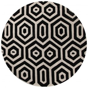 Gold 624 Black & White Round By Rug Culture