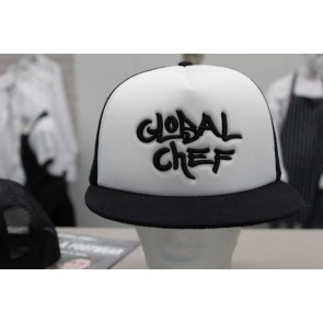 White Contrast Funky Peaked Cap by Global Chef