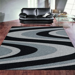 Coastal Black Imperial Carving Rug by Saray Rugs
