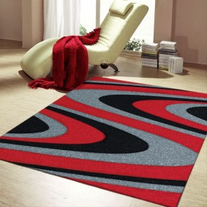 Coastal Red Imperial Carving Rug by Saray Rugs