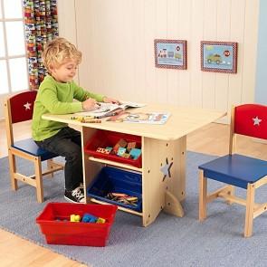 Kidkraft Star Kids Table & Chair Set with Storage Tubs