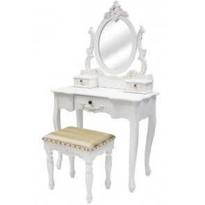 Living Good Large Dressing Table With Mirror And Large Stool