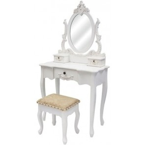 Living Good Large Dressing Table with Mirror & Stool