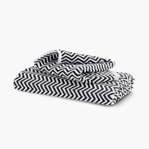 Linen and Moore Herringbone BlackWhite Towels