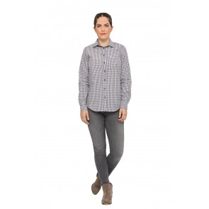 Long Sleeve Womens Chocolate Gingham Shirt