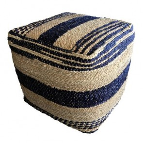 Pre Order Marlin Ottoman 45X45X40CM Natural/Indigo by J Elliot Home