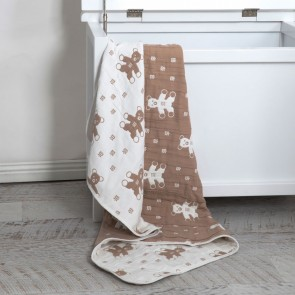 Bear Muslin Jacquard Blanket by Living Textiles