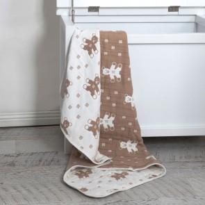 Bear Muslin Jacquard Blanket by Living Textiles