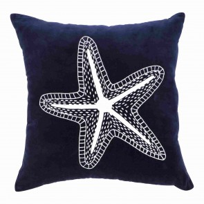 Navy Blue Velvet Star Fish Cushion
