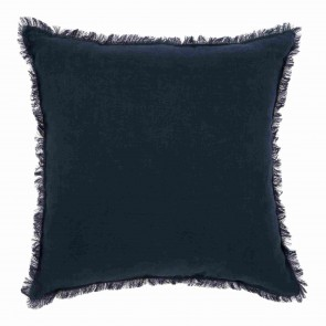 Navy & White Linen Fringed European Cushion