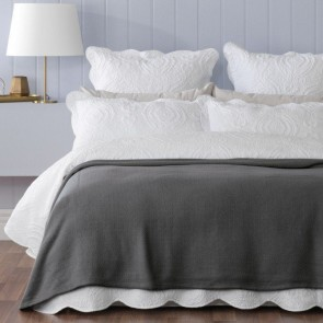 Bianca Norwood Cotton Blanket 320gsm Coal