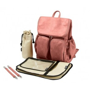 OiOi Faux Leather Nappy Backpack Dusty Rose