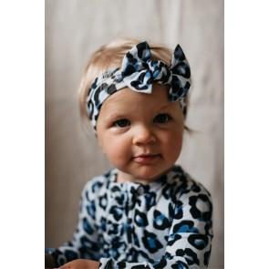 OiOi Top Knot Headband Blue Leopard