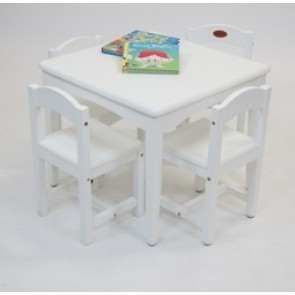 Babyhood Playing Table With 4 Chairs - White