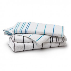 Linen and Moore Santorini White/Turquoise Bath Towel