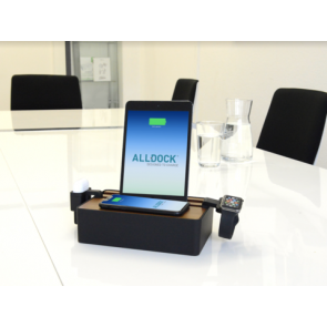 AllDock HybridX Wireless Compact Walnut & Black