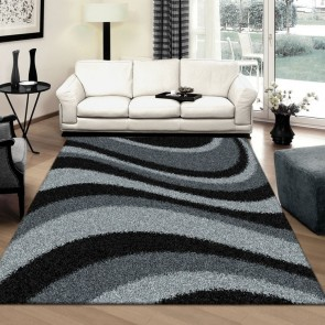 Arte Supreme Shaggy Black Rug by Saray Rugs