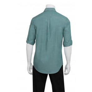 Mens Chambray Green Mist Shirt by Chef Works