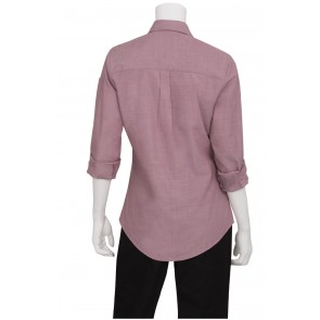 Ladies Chambray Dusty Rose Shirt by Chef Works