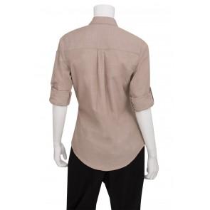 Ladies Chambray Ecru Shirt by Chef Works