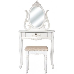 Living Good Small Dressing Table With Mirror And Large Stool