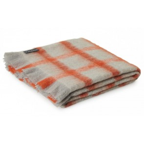 St Albans Mohair Tomato Check Throw Rug