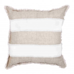 Striped Beige & White Linen Fringed European Cushion