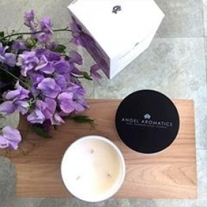 470g Glass Candle Sea Pea and Violet by Angel Aromatics
