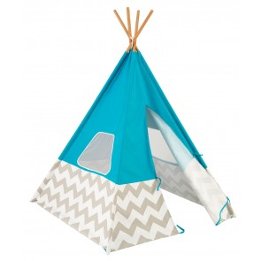 Kidkraft Turquoise Teepee with Grey & White Chevron