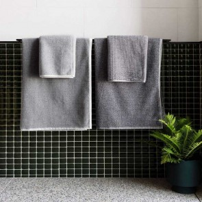 Linen and Moore Tweed Grey Towels