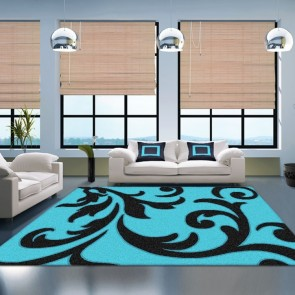 Vibrant Blue Vivid Collection Rug by Saray Rugs