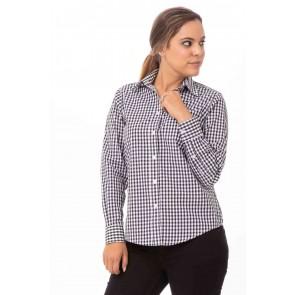 Gingham Womens Black Dress Shirt