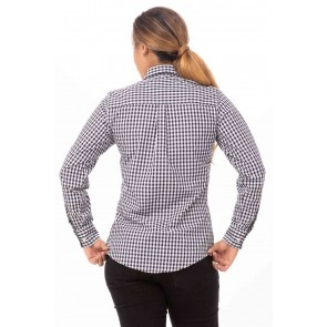 Gingham Womens Black Dress Shirt by Chef Works