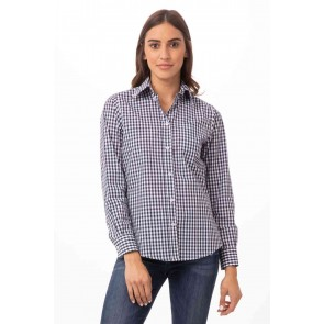 Gingham Womens Blue Dress Shirt by Chef Works