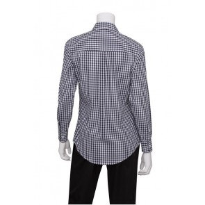 Gingham Women's Navy Dress Shirt by Chef Works